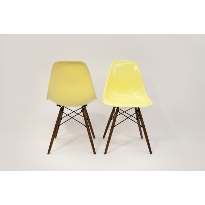 Chaise eames dsw herman miller jaune citron x2 for Chaise eames dsw transparent