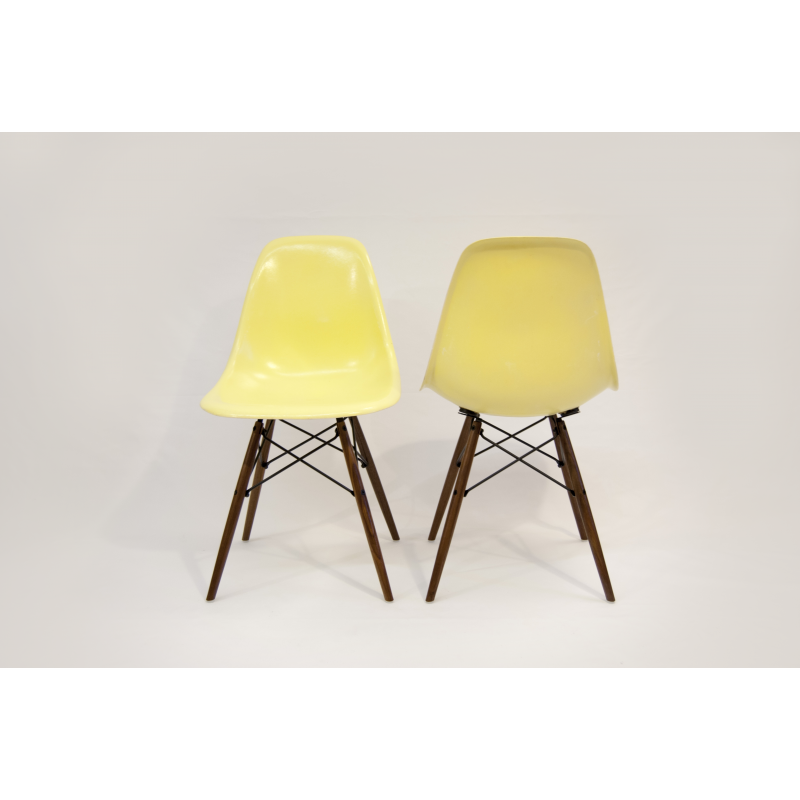 chaise eames dsw herman miller jaune citron x2. Black Bedroom Furniture Sets. Home Design Ideas