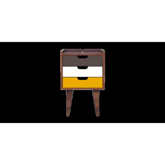 Table de chevet - OSNS Yellow - Noyer - Livraison Offerte