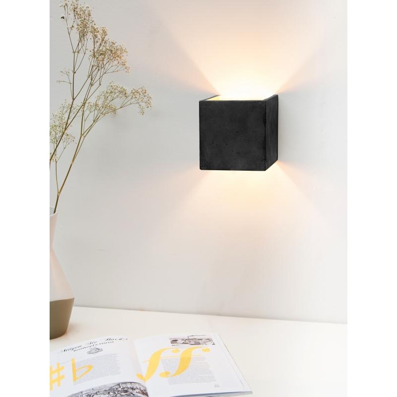 applique murale cubic b ton noir cuivre. Black Bedroom Furniture Sets. Home Design Ideas