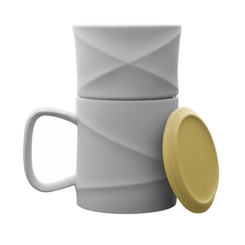 Mug - WAVE - Blanc/Jaune - Livraison Offerte