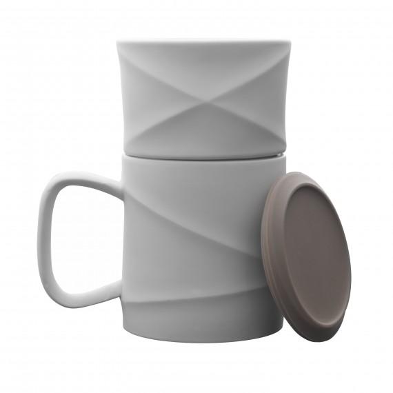 Mug - WAVE - Blanc/Gris - Livraison Offerte
