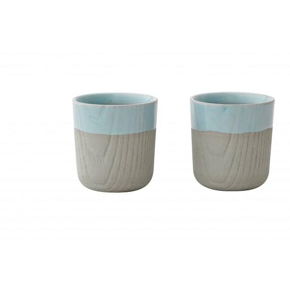 Mini Tasse - MU - Grise/Bleue x2