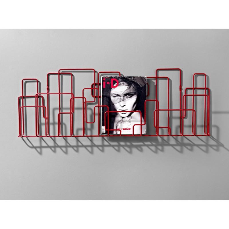 Porte Revues Mural - CITY SUNDAY - Rouge - Livraison Offerte