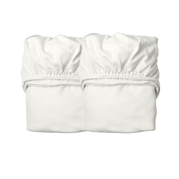Drap Housse pour Lit Bébé - LEANDER - Blanc x2 - Livraison