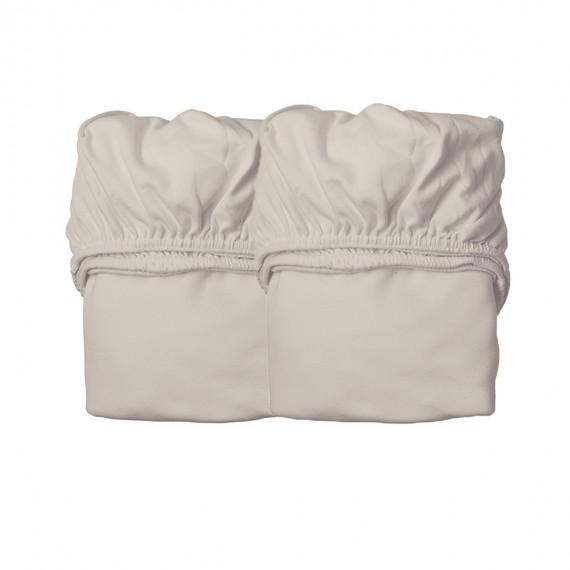 Drap Housse pour Lit Bébé - LEANDER - Cappucino x2