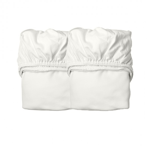 Drap Housse pour Lit Junior - LEANDER - Blanc x2